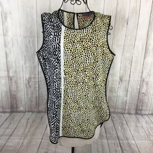 Vince Camuto Sleeveless Yellow Black Blouse Small